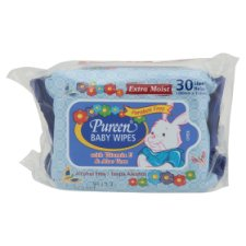 Pureen Extra Moist Blue Baby Wipes 2 x 30s